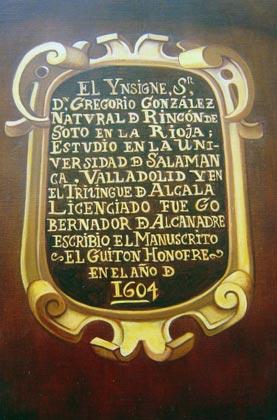Gregorio González (detalle de la cartela)